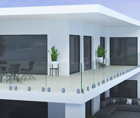 Garde-corps verre aluminium TESIS