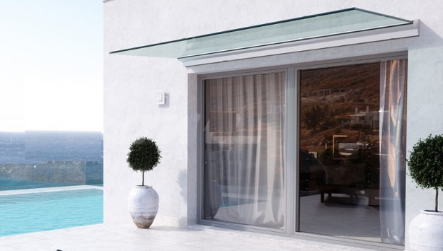 marquise verre auvent porte terrasse
