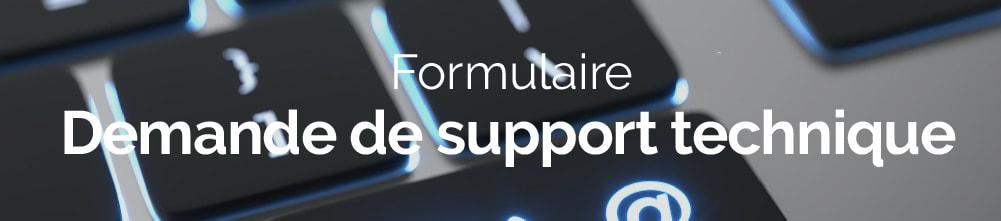 Bannière web formulaire support technique